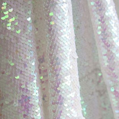 White Iridescent Sequin Table Cloth