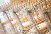 Grey organza chiavari sash wedding styling