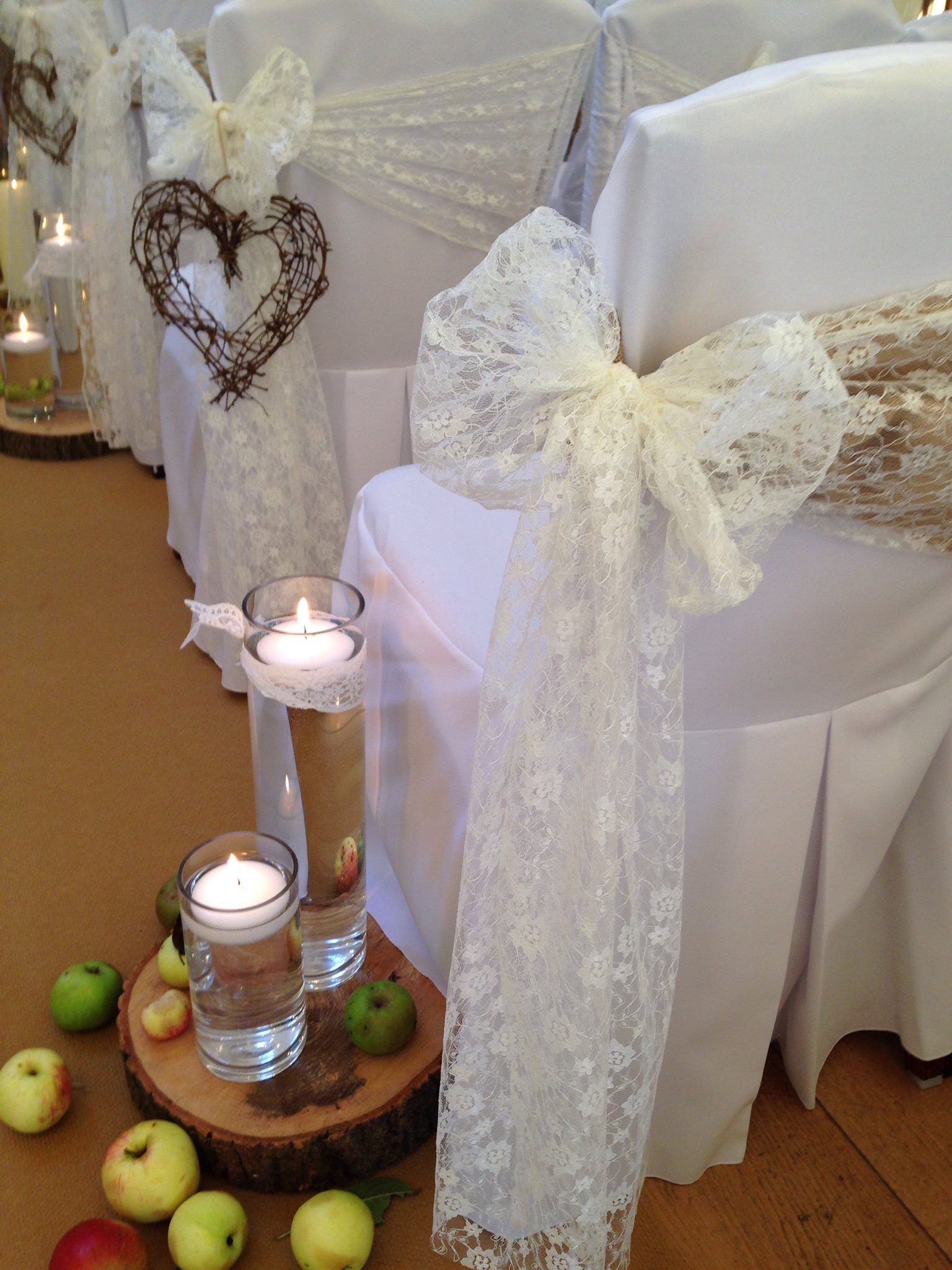 gold and lace chair covers with hearts