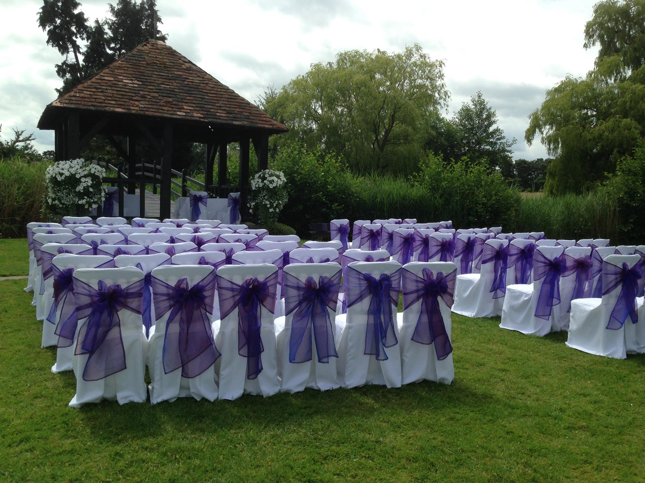 Custom made covers purple sashes