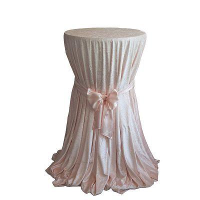 blush pink white Velvet Table Linen