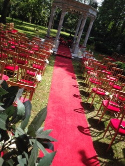 Red Aisle carpets by 30mtrs by 1mtr