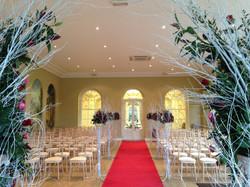 Winter red wedding aisle carpets