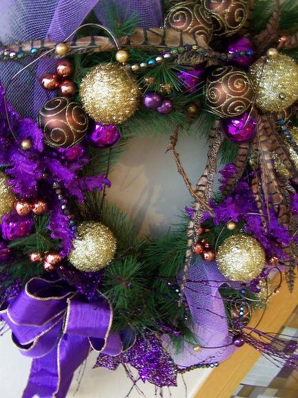 Purple Peasant Christmas Wreath