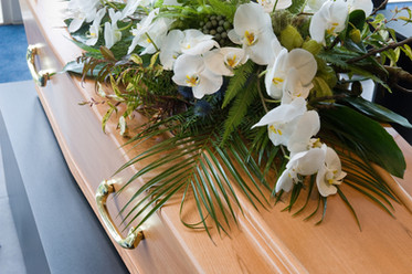 RIP White Orchid funeral casket
