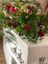 RIP Pink and red casket flowers