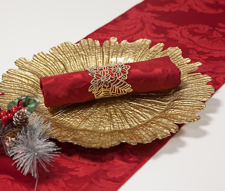 Red Damask Table Runner and Charger