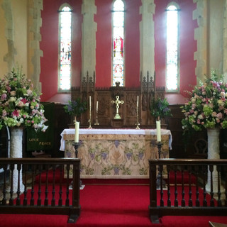 Church Pedestals at Braxted Park Weddings