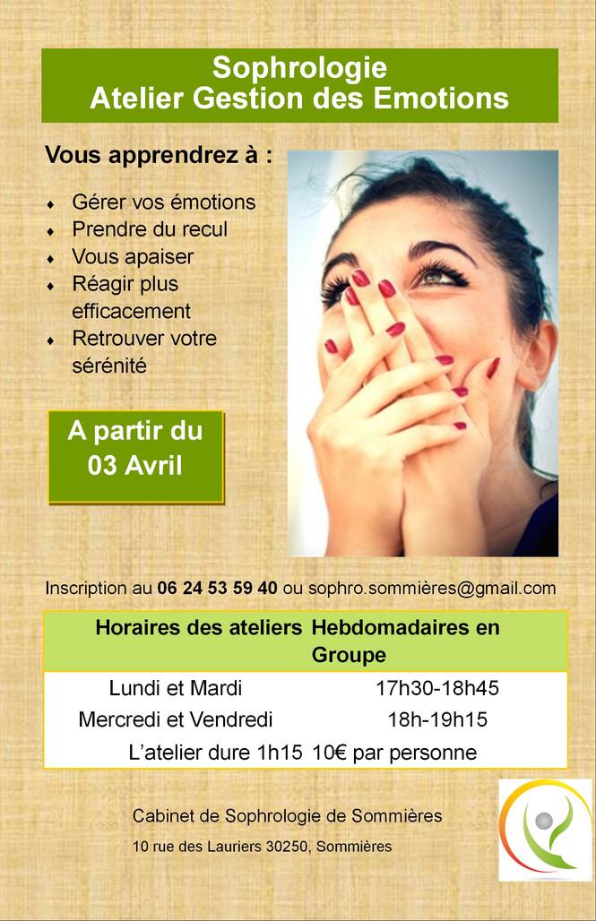 Atelier Sophrologie et gestion des émotion en Avril