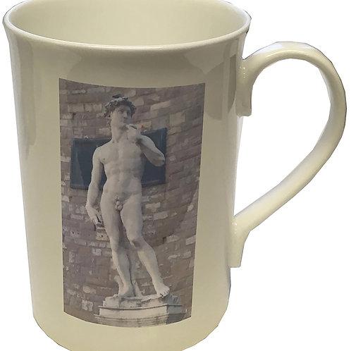 Tall Lipped White China Mug