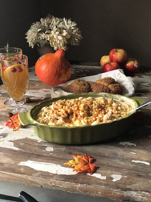 Family Style:  Baked Chicken Mac and Cheese