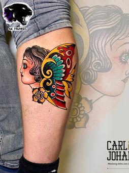 Rocky - traditional lady butterfly tattoo Ink Panthers Echt Tattooshop Limburg Tattoo