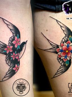Rocky - Traditional swallows Ink Panthers Echt Tattooshop Limburg Tattoo