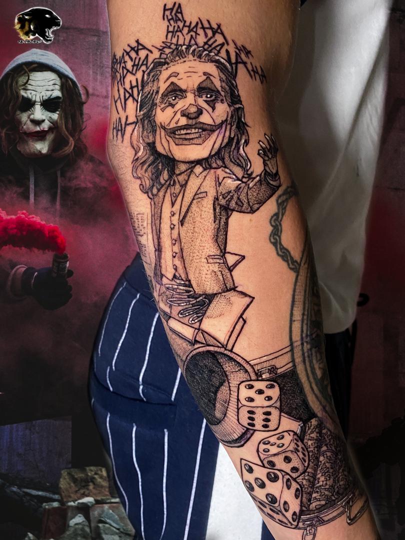 Quincy / Kwills - joker tattoo Ink Panthers Echt Tattooshop Limburg Tattoo