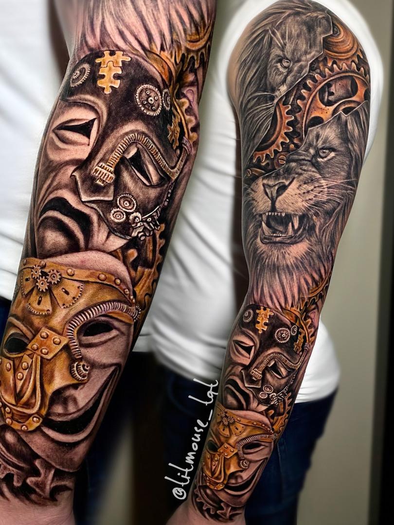 Jennifer / Titmouse - realistic sleeve - upperarm healed - Ink Panthers Echt Tattooshop Limburg Tattoo