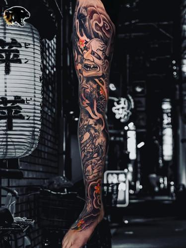 Ivan - Japanese legsleeve tattoo Ink Panthers Echt Tattooshop Limburg Tattoo