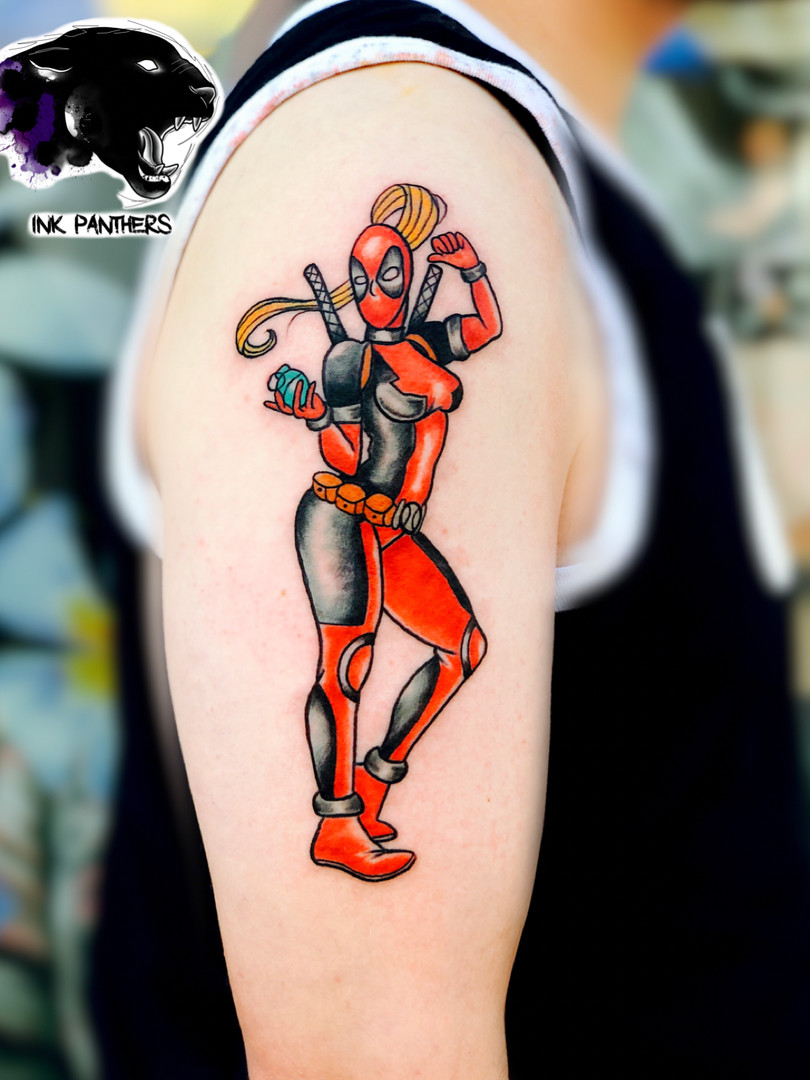 Rocky - traditional deadpool girl Ink Panthers Echt Tattooshop Limburg Tattoo