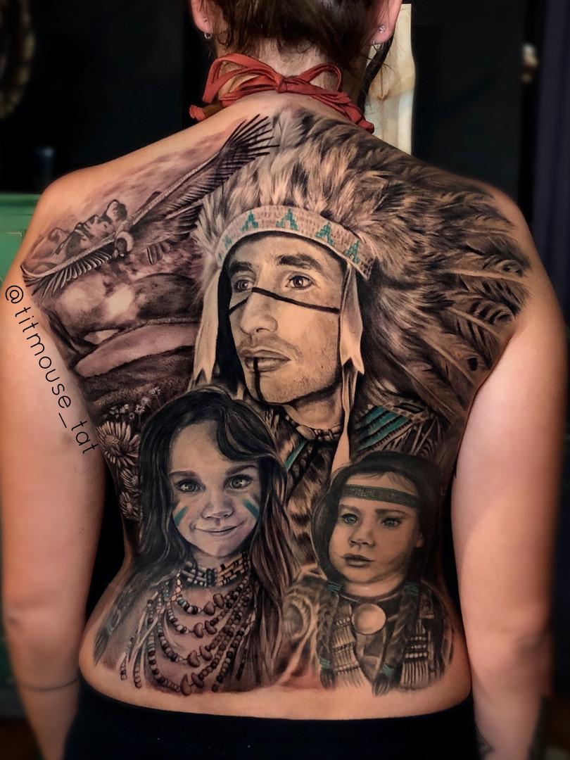 Jennifer / Titmouse -Indian tattoo back - Ink Panthers Echt Tattooshop Limburg Tattoo