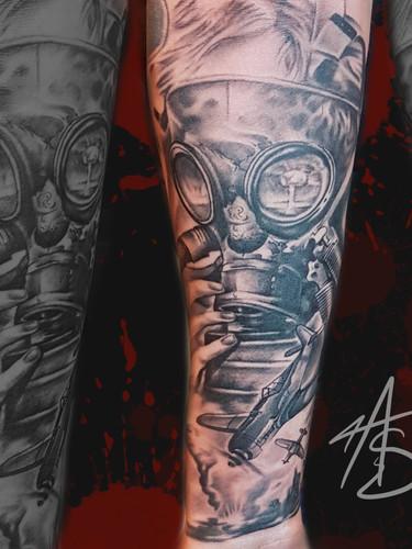 Artur Stec - nuclair sleeve progress Ink Panthers Echt Tattooshop Limburg Tattoo