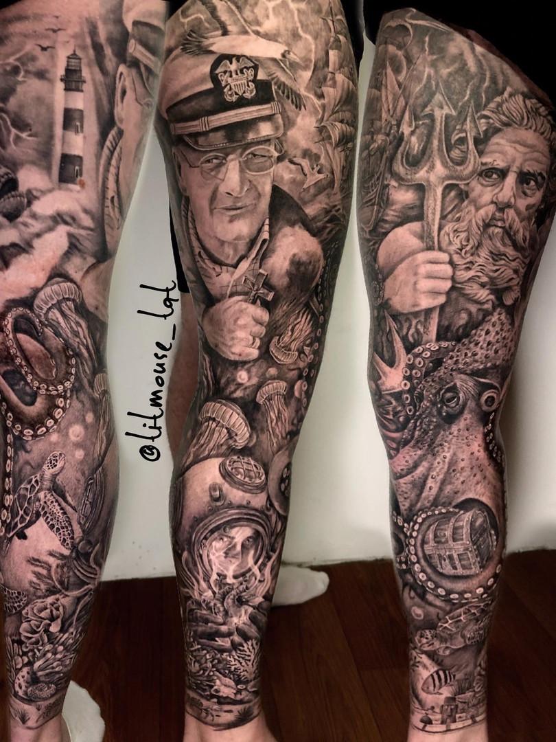 Jennifer / Titmouse - realisme - leg sleeve - Ink Panthers Echt Tattooshop Limburg Tattoo