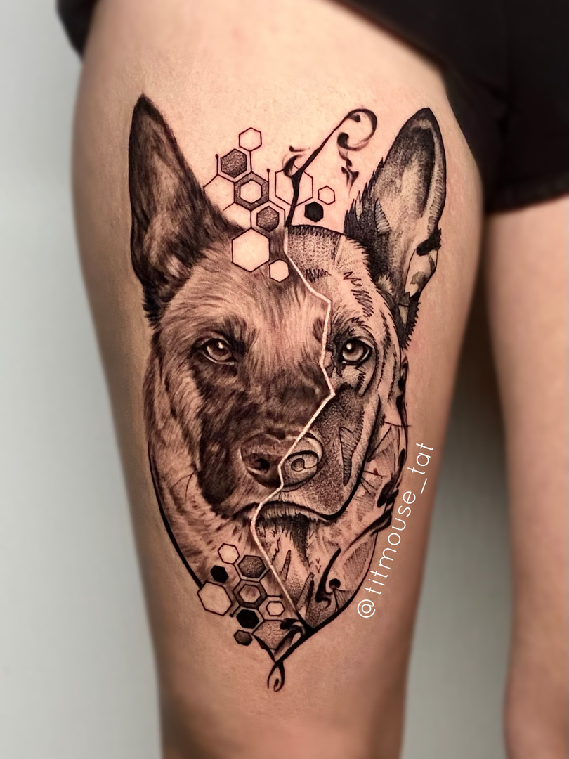 Jennifer / Titmouse - Herder tattoo creative realism - Ink panthers Tattooshop Limburg