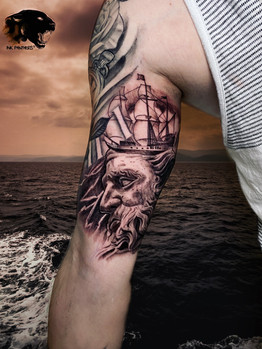 Ivan - poiseidon tattoo Ink Panthers Echt Tattooshop Limburg Tattoo