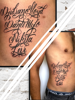 Rocky - script tattoo Ink Panthers Echt Tattooshop Limburg Tattoo
