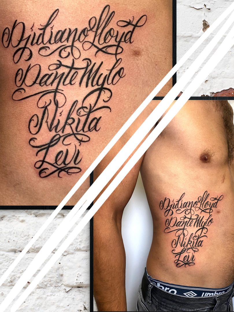 Rocky - script tattoo Ink Panthers Echt Tattooshop Limburg Tattoo