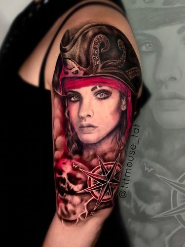 Jennifer / Titmouse - in progress pirate sleeve tattoo Ink Panthers Echt Tattooshop Limburg Tattoo