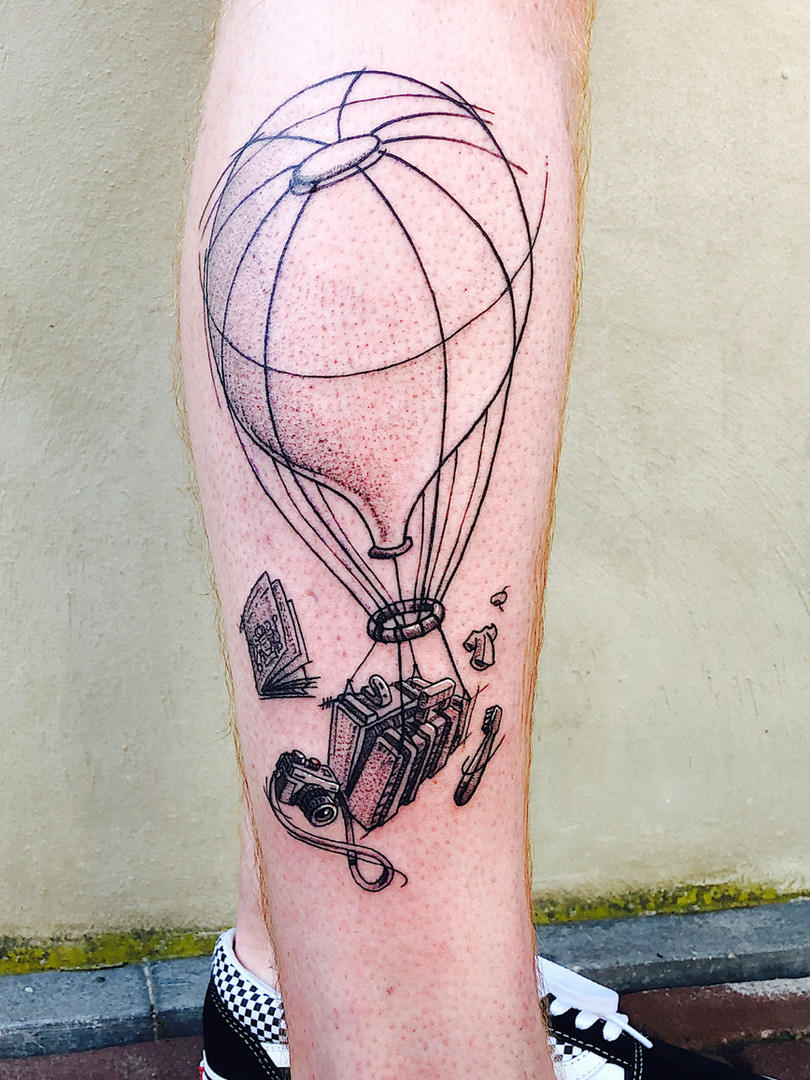 Quincy - air ballon Ink Panthers Echt Tattooshop Limburg Tattoo