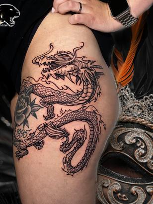 Quincy / Kwills - dragon tattoo Ink Panthers Echt Tattooshop Limburg Tattoo