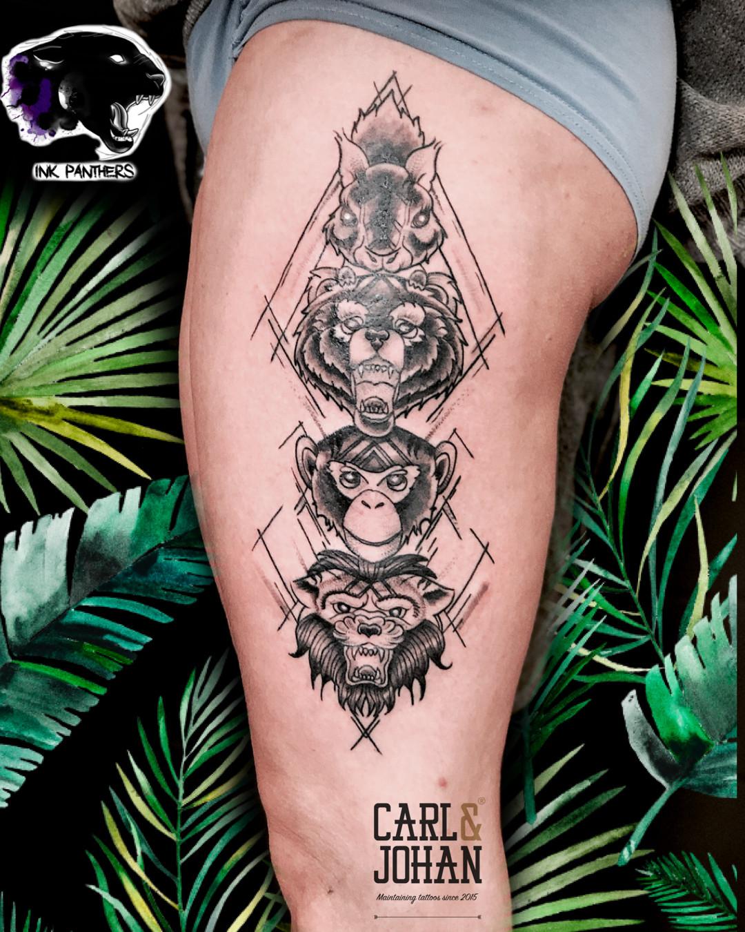 Rocky Totem Tattoo Ink Panthers Echt Tattooshop Limburg Tattoo