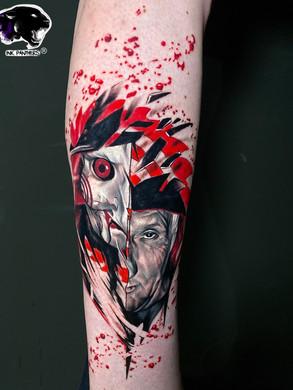 Artur Stec - Saw mask Panthers Echt Tattooshop Limburg Tattoo