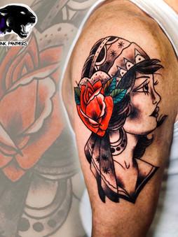 Rocky - traditional lady Ink Panthers Echt Tattooshop Limburg Tattoo