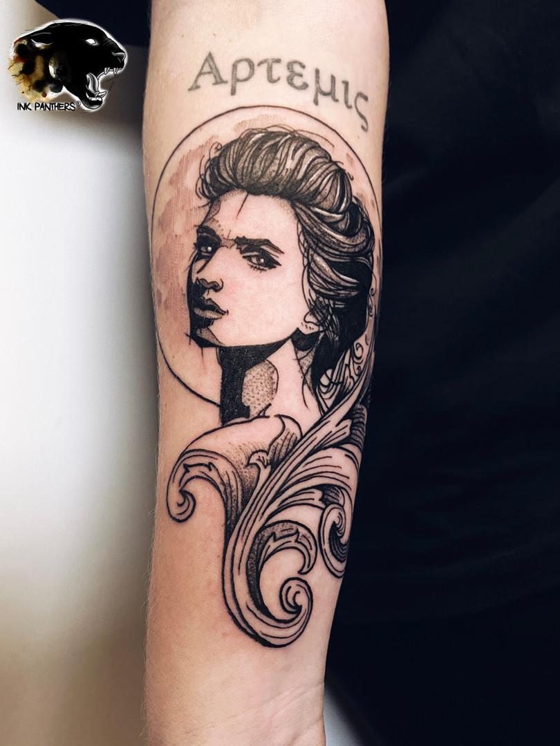 Quincy / Kwills - portrait tattoo Ink Panthers Echt Tattooshop Limburg Tattoo
