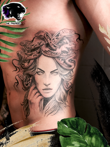 Ivan - Medusa, HEALED face Ink Panthers Echt Tattooshop Limburg Tattoo