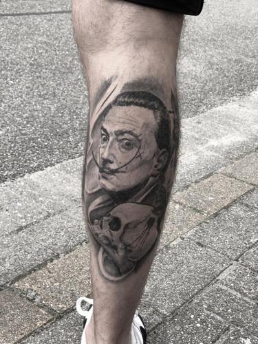 Ivan - Healed portrait of Dali Ink Panthers Echt Tattooshop Limburg Tattoo