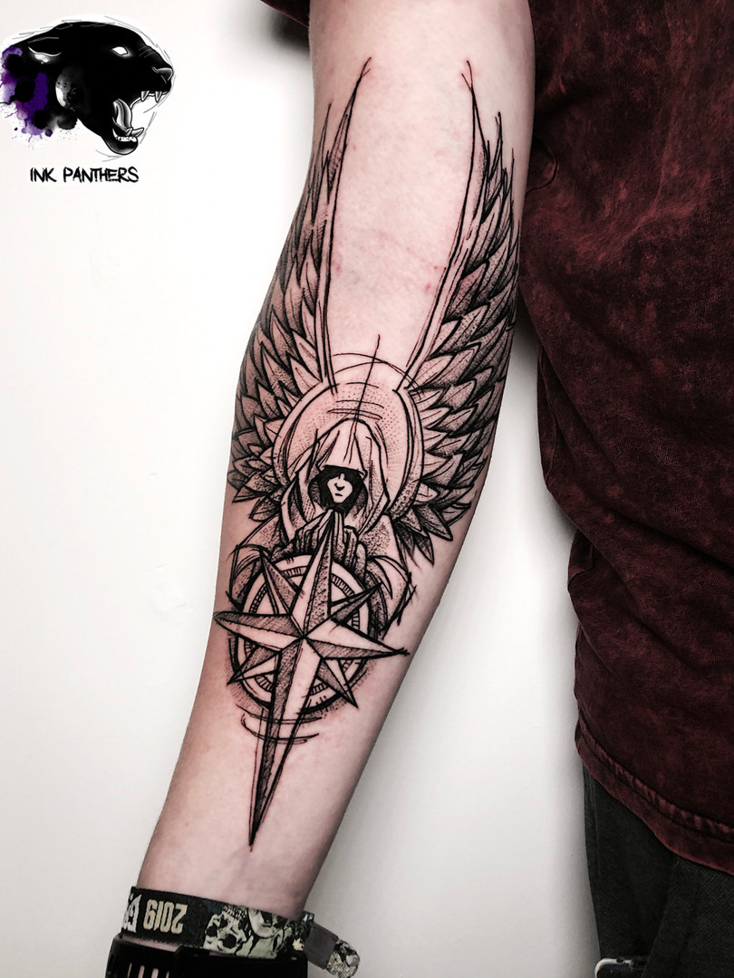 Quincy / Kwills - Windroos Ink Panthers Echt Tattooshop Limburg Tattoo