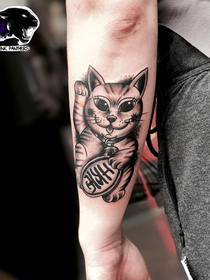 Rocky - lucky cat Ink Panthers Echt Tattooshop Limburg Tattoo