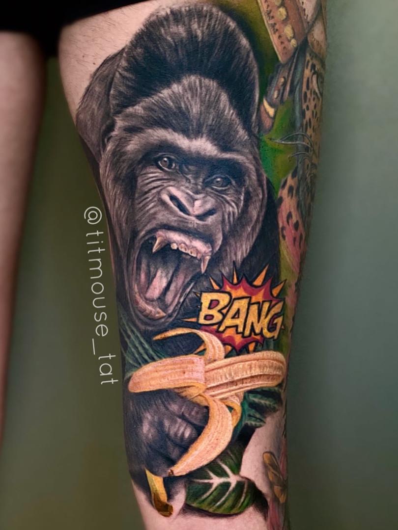 Jennifer / Titmouse - creative realisme - gorilla - healed - Ink Panthers Echt Tattooshop Limburg Tattoo