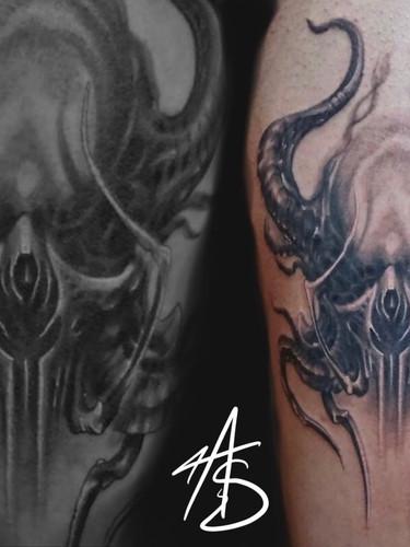 Artur Stec - Skull fantasy Ink Panthers Echt Tattooshop Limburg Tattoo
