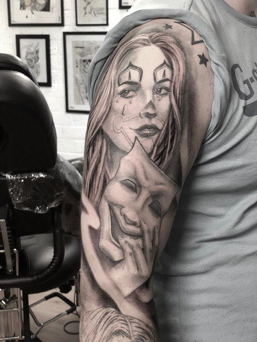 Ivan - girl portrait Ink Panthers Echt Tattooshop Limburg Tattoo