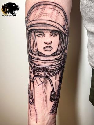 Quincy / Kwills - astronaut tattoo Ink Panthers Echt Tattooshop Limburg Tattoo