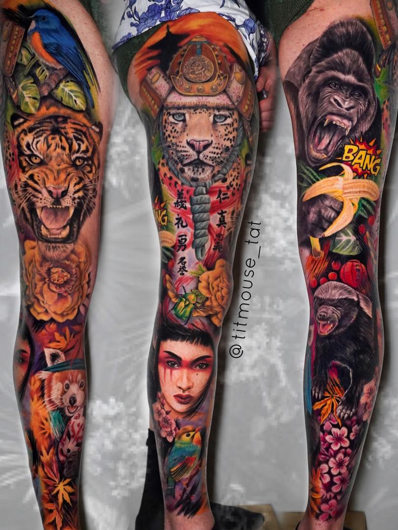 Jennifer / Titmouse - creative realisme - leg sleeve - Ink Panthers Echt Tattooshop Limburg Tattoo