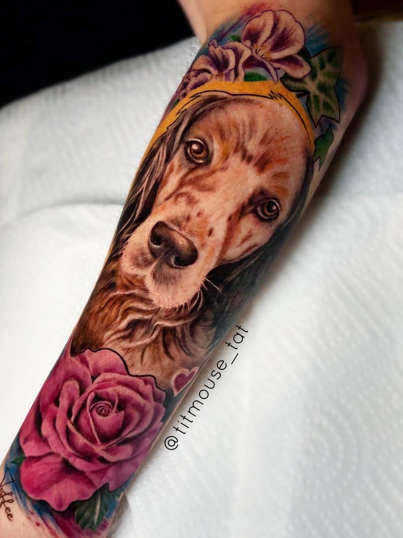 Jennifer / Titmouse - creative realisme - dog portrait - Ink Panthers Echt Tattooshop Limburg Tattoo