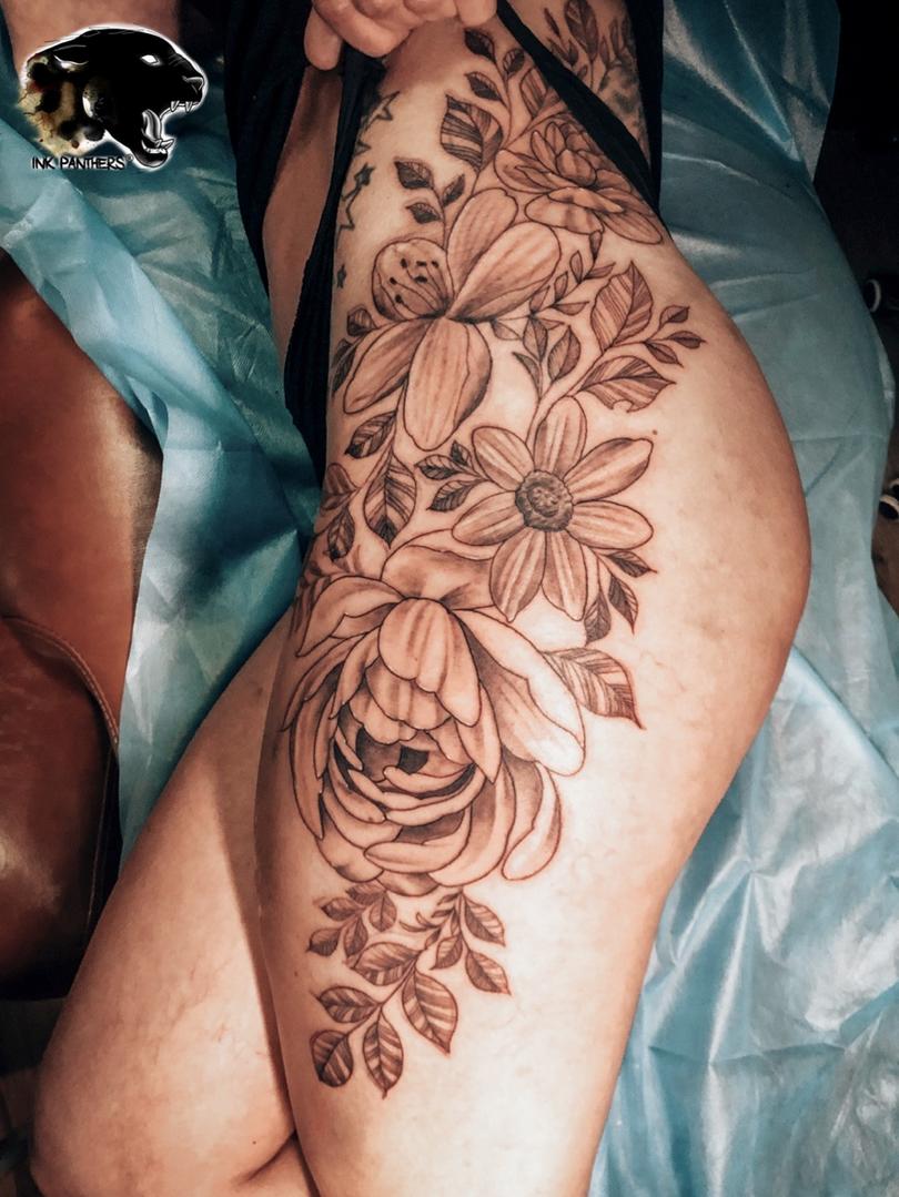 Ivan - Floral tattoo Ink Panthers Echt Tattooshop Limburg Tattoo