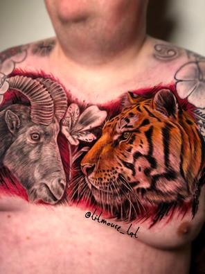 Jennifer / Titmouse - kleur realisme - tijger tiger fresh - steenbok genezen - Ink Panthers Echt Tattooshop Limburg Tattoo
