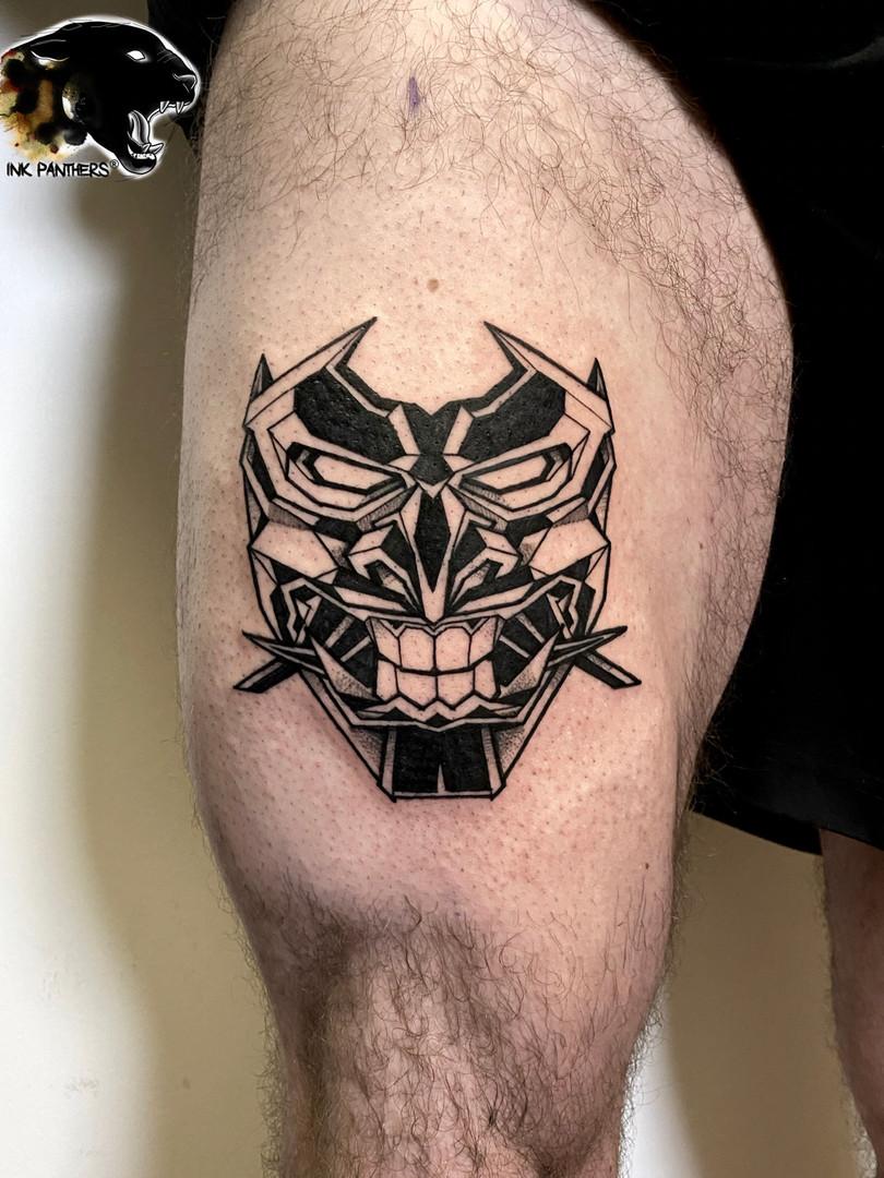 Quincy / mask tattoo - Blue Jay Ink Panthers Echt Tattooshop Limburg Tattoo