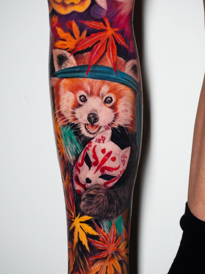 Jennifer / Titmouse - genezen rode panda tattoo / healed - Ink Panthers Echt Tattooshop Limburg Tattoo