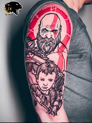 Quincy / Kwills -god of war tattoo Ink Panthers Echt Tattooshop Limburg Tattoo